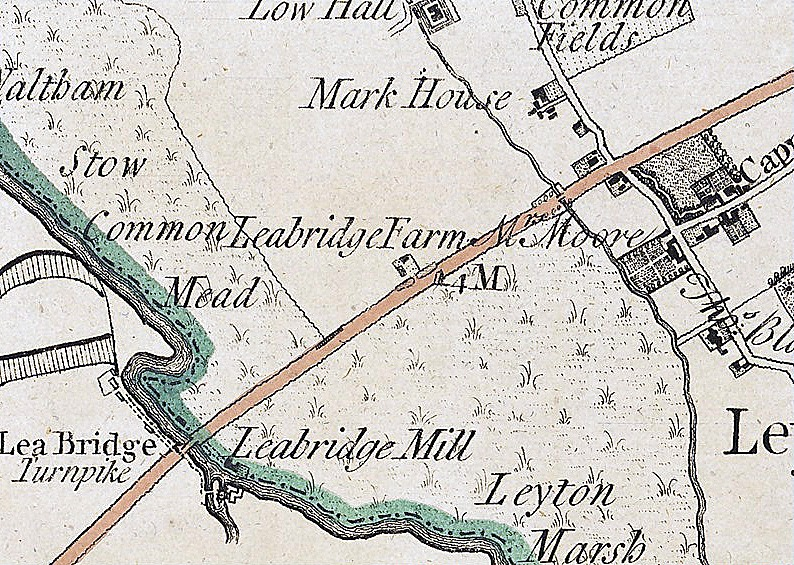 Lea Bridge on the 1777 Map of the County of Essex by Chapman and Andre.